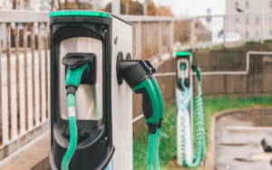Close up of green and black EV charging stations
